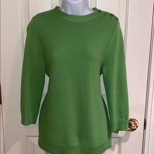 Talbots lime green sweater with shoulder buttons